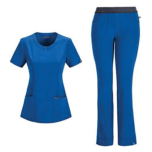 Cherokee Infinity Ensemble d'infirmière avec haut à col rond 2624A pantalon slim taille basse 1124A pour femme – Bleu – XL Tops /XL Pantalons
