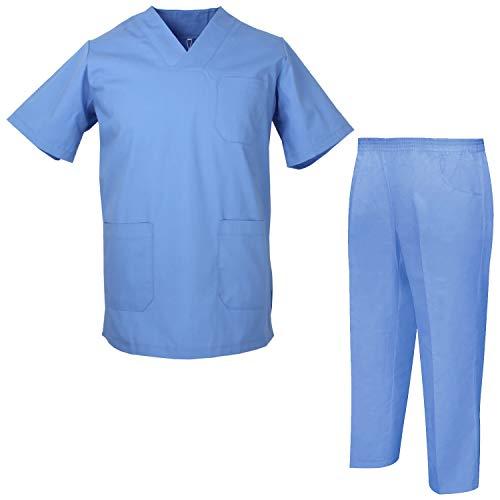 Misemiya – Ensemble Uniformes Unisexe Blouse – Uniforme Médical avec Haut et Pantalon – Ref.8178 – X-Small, Chemise Sanitaire 817-4 Celeste