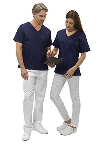 Selekto Pro Blouse Médicale et esthetique – Tunique – Couleurs Blanc, Gris, Fuschia – Blouse Tunique Infirmière Vétérinaire Médecin Dentiste (Marine, S)