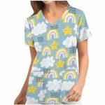 Kasack Femme Soin Coloré Motif Blouse T-shirt à enfiler avec Poches Manches Courtes Col en V Chemise à enfiler Vêtement professionnel infirmière Uniformes Tops Op-Vêtement – Beige – Taille Unique