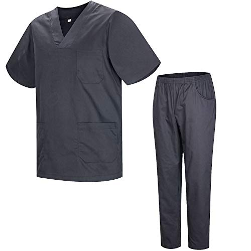 Misemiya – Ensemble Uniformes Unisexe Blouse – Uniforme Médical avec Haut et Pantalon – Ref.8178 – Medium, Gris