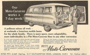 Annonse for Pitt Motor Caravan fra 1958. BL