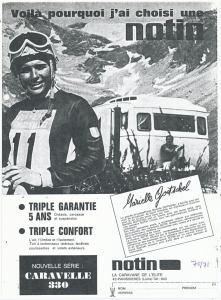 Annonse fra 1970 for den franske vognen Notin med en kjent fransk alpinist. BL