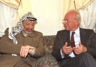 Then Prime Minister Yitzhak Rabin meeting in Casablanca with then PLO Chairman Yasser Arafat