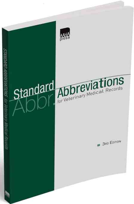 Standard Abbreviations For Veterinary Medical Records 3rd Edition PDF Download