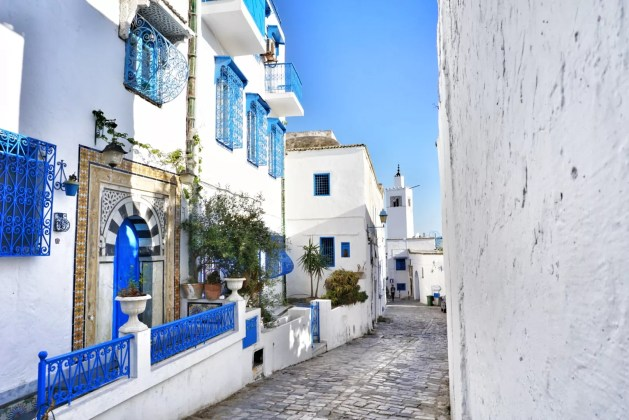 Sidi Bou Said Tunesië blauw wit huisje straat