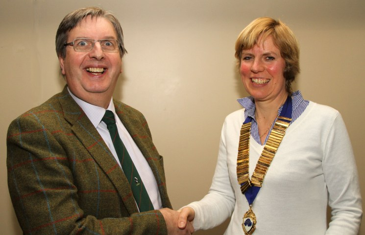 Omagh733 The new President of AVSPNI Melanie Spahn is congratulated by Alan Gordon outgoing President.