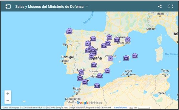 Mapa de los museos del Ministerio de Defensa