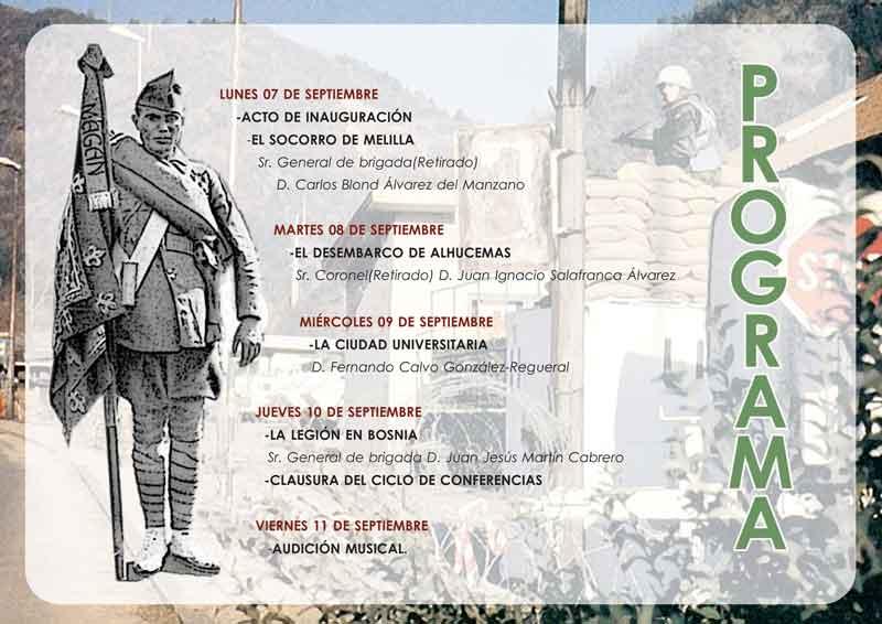 Agenda ciclo 100 años de la Legión española