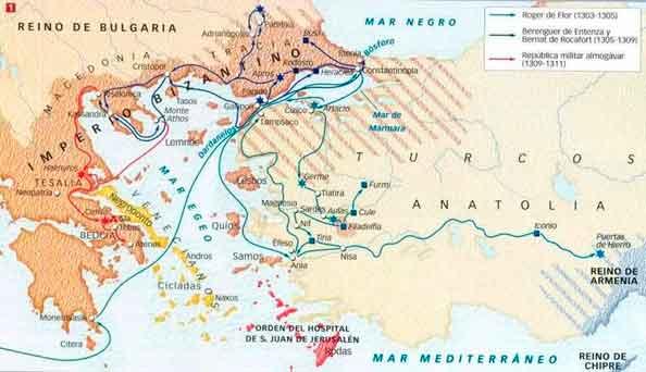 Mapa de los Almogágres en Oriente