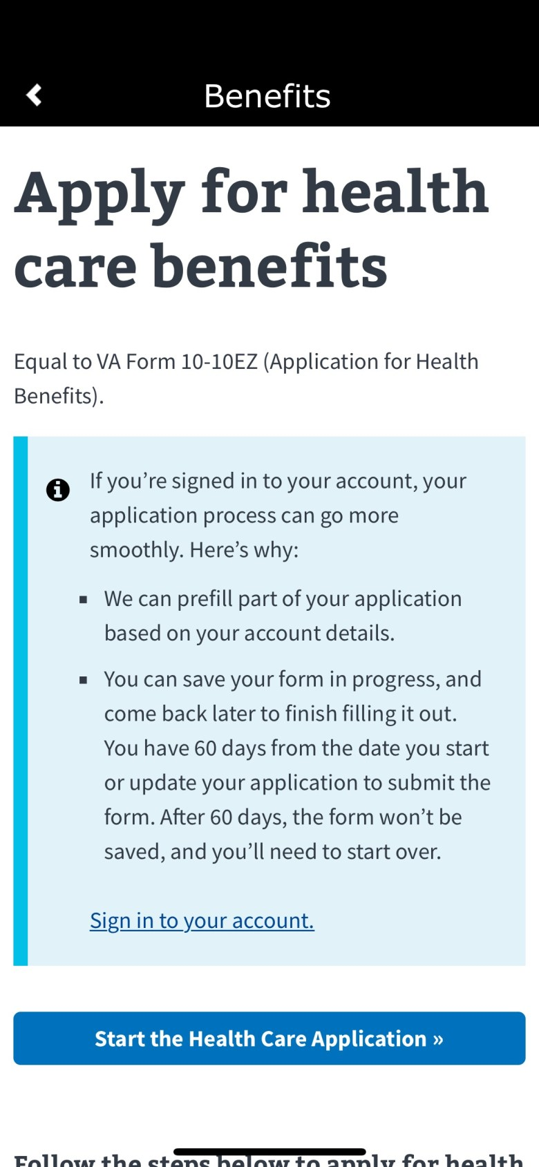 Screenshot of Benefits Application