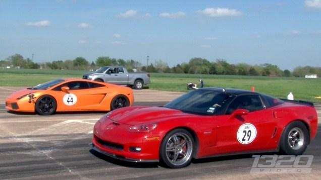 1200hp C6 Corvette Z06 vs 1500hp Lamborghini Gallardo – CLOSE RACE