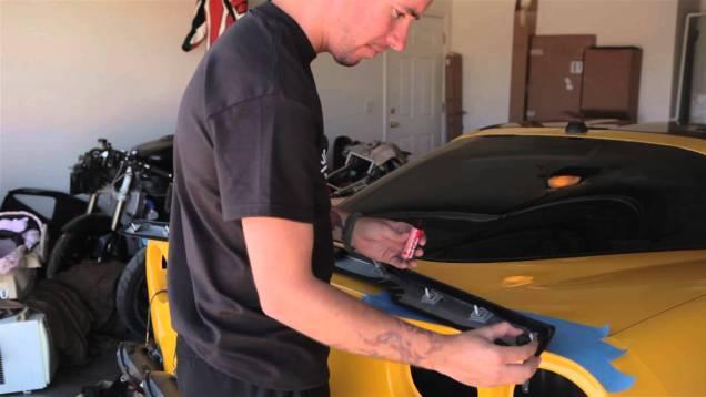 ZR1 Corvette spoiler installation on a C6 Corvette