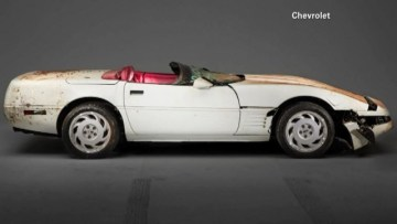 The 1992 white Corvette convertible was the 1 millionth version of the model to roll off the assembly line. It was the most valuable of eight cars that fell into a sinkhole at Kentucky's National Corvette Museum in February. (Source: Chevrolet/CNN)