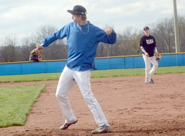 Mitchell Morris and Brett Turner are shown during infield play. Both are pitchers for the third ranked Shiners.