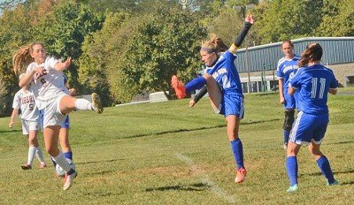 'Not on my watch'<br /><br /><!-- 1upcrlf2 -->Chelsea Brown clears the ball from her sweeper position against Lawrenceburg. The Rising Sun defense limited the defending sectional champ to one first half goal