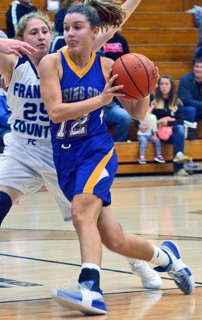 Lucy Carrigan drives to the basket. She scored 24 of Rising Sun's 30 points against Franklin County.