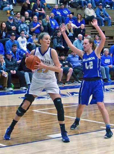 Danyka Groover pulls down one of eight first half rebounds and finished with 11 points and 10 rebounds. Waldron's Victoria Shaw had 18 points and 10 boards.