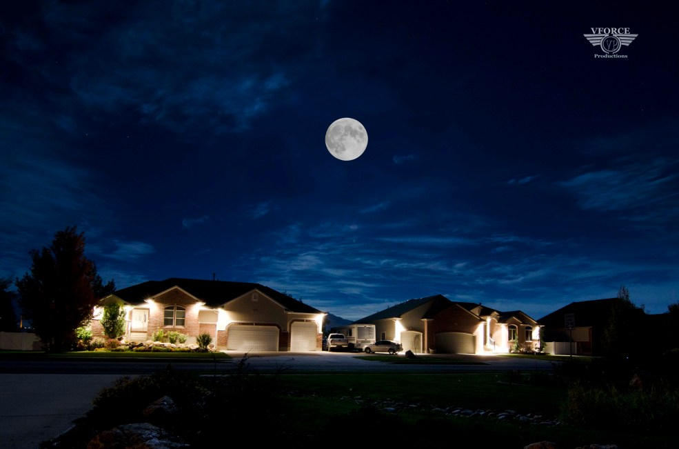 moon above houses
