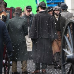 Benedict Cumberbatch and Martin Freeman film a scene for the 'Sherlock' christmas special in London Featuring: Martin Freeman, Benedict Cumberbatch Where: London, United Kingdom When: 07 Feb 2015 Credit: WENN.com