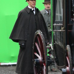 Benedict Cumberbatch and Martin Freeman film a scene for the 'Sherlock' christmas special in London Featuring: Benedict Cumberbatch Where: London, United Kingdom When: 07 Feb 2015 Credit: WENN.com