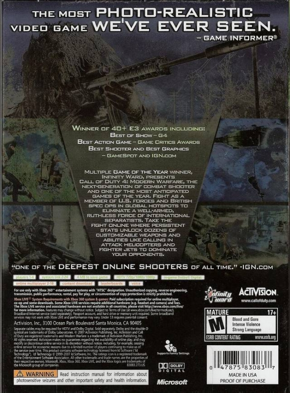 Call of Duty 4: Modern Warfare for Xbox 360 - Sales, Wiki ...