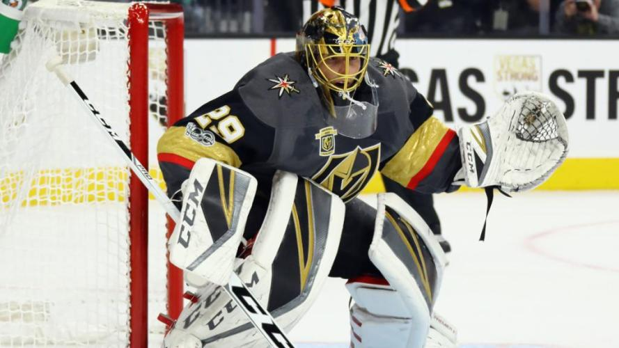 Marc-Andre Fleury, #29 for the Golden Knights and their lead goalie, stands in net during a Vegas Golden Knights home game