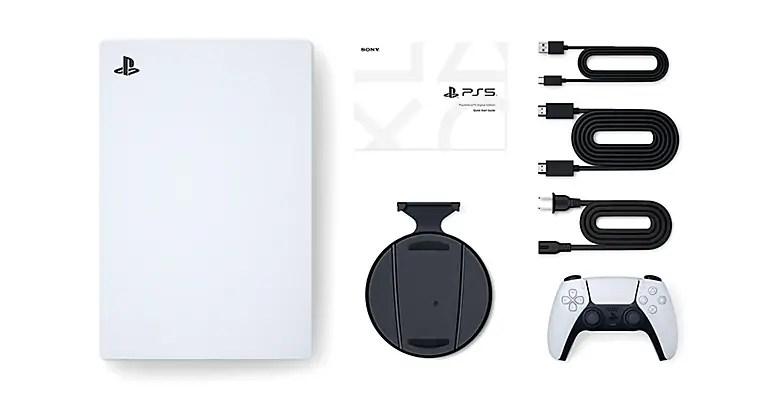 PS5 Digital Edition box content