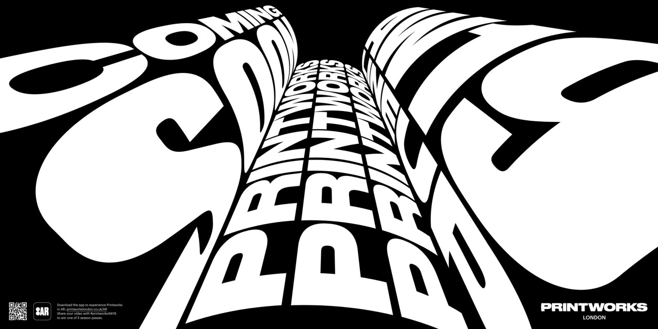 OMSE uses augmented reality to create moving 3D typography for Printworks