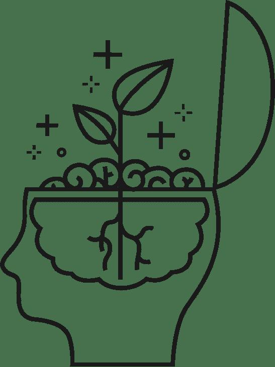 Le cerveau illustré comme le terreau d'une idée