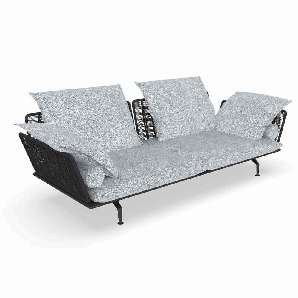 canape de jardin 3 places en tissu rembourre et aluminium cruise alu talenti