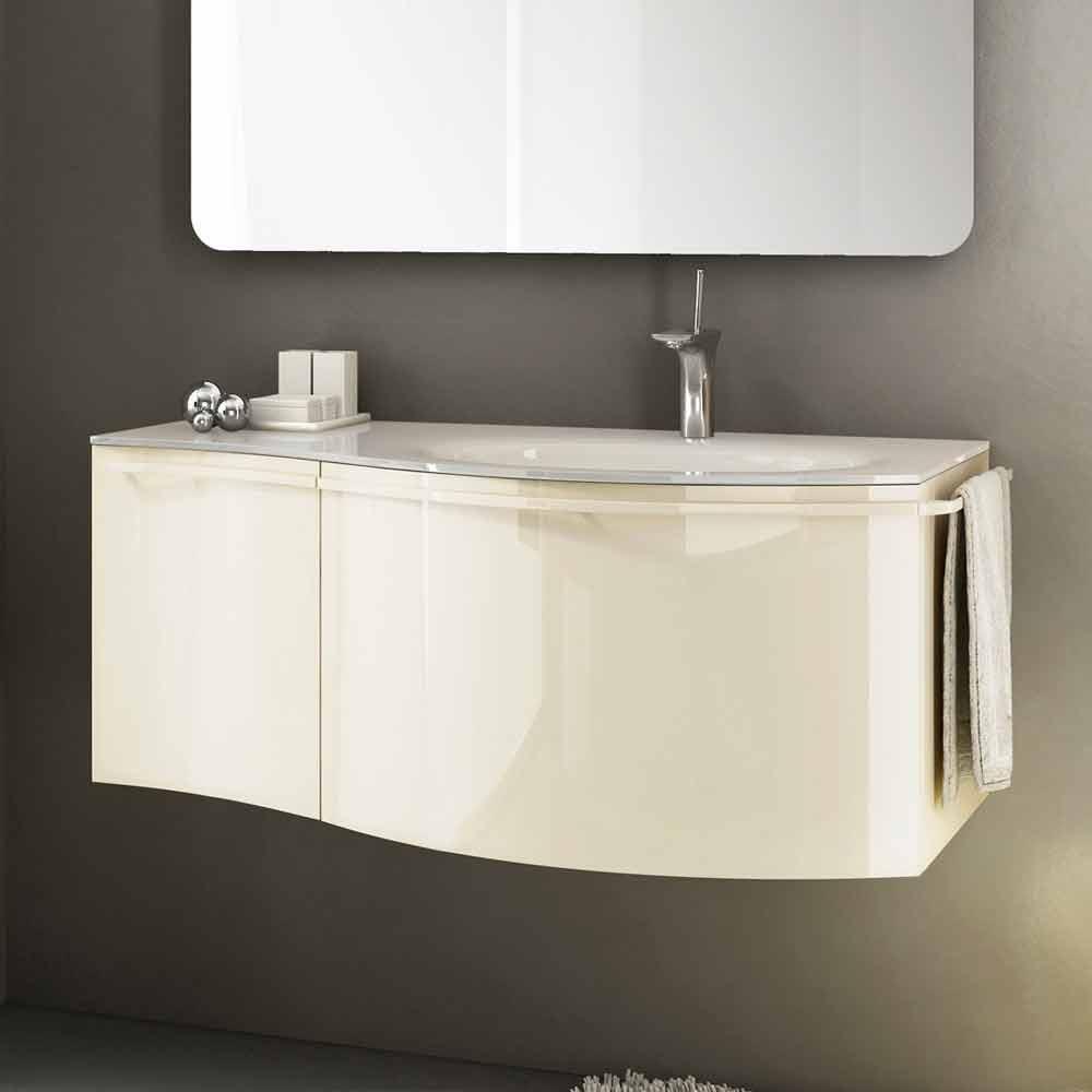 meuble de salle de bain suspendu moderne avec lavabo en bois laque beige gioia 1