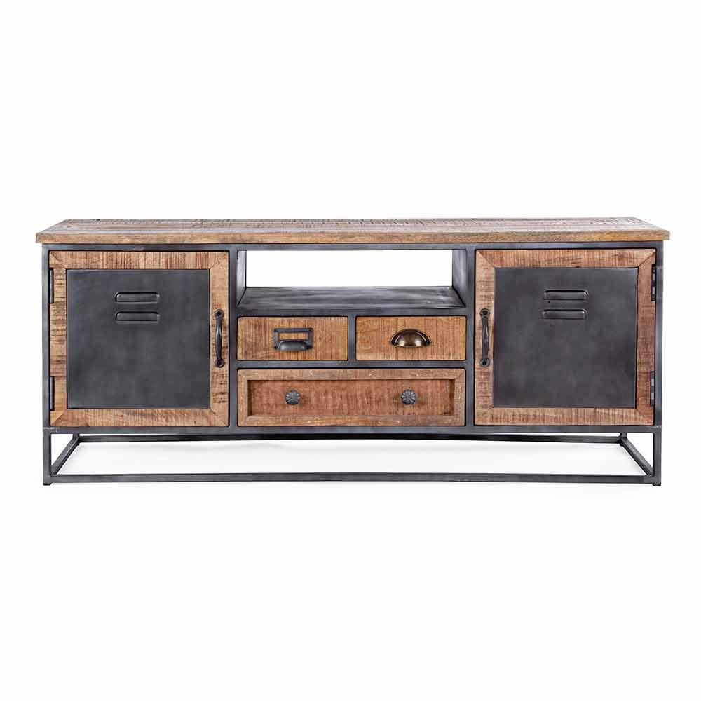 meuble tv de style industriel en manguier et acier homemotion rupia
