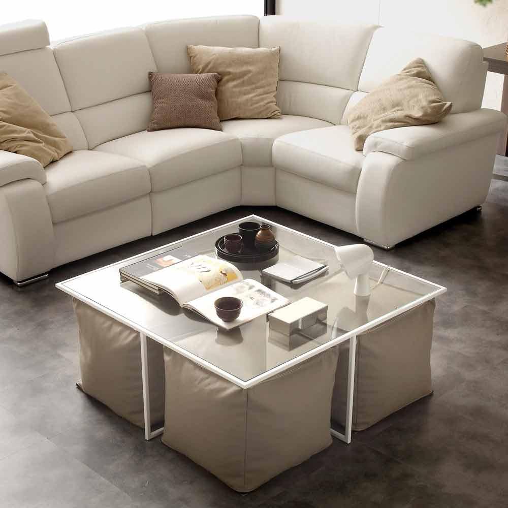table basse de salon en verre lula fournie avec 4 poufs en cuir ecologique