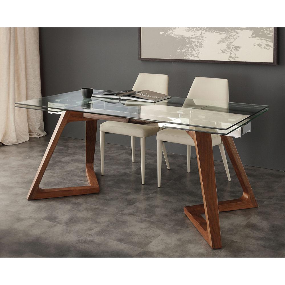 table de salle a manger extensible avec palteau en verre trempe iside