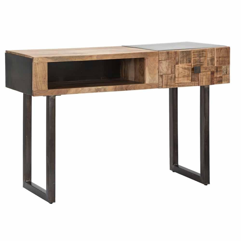 table console en fer et bois d acacia avec tiroir design dena