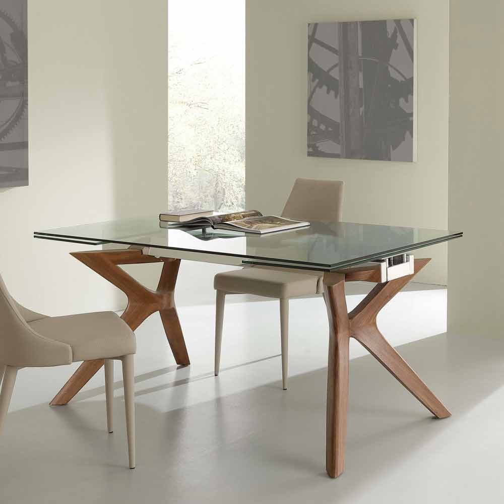 table moderne en acier inoxydable et verre trempe extendable kentucky