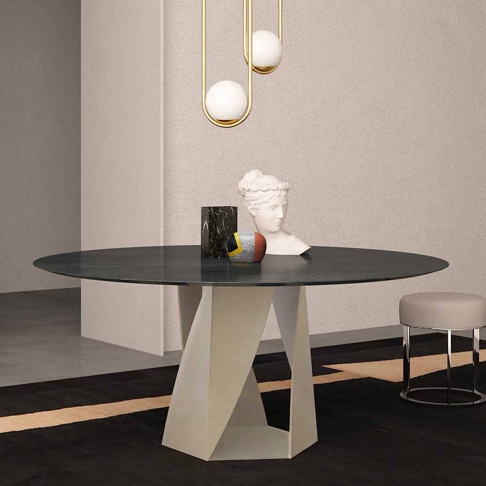 table ronde en marbre ocean black diametre 130 cm made in italy montedoro