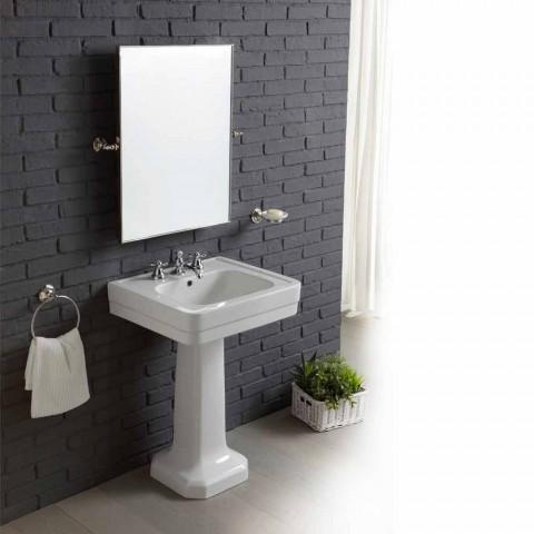 set salle de bain avec lavabo sur colonne en ceramique blanche ania