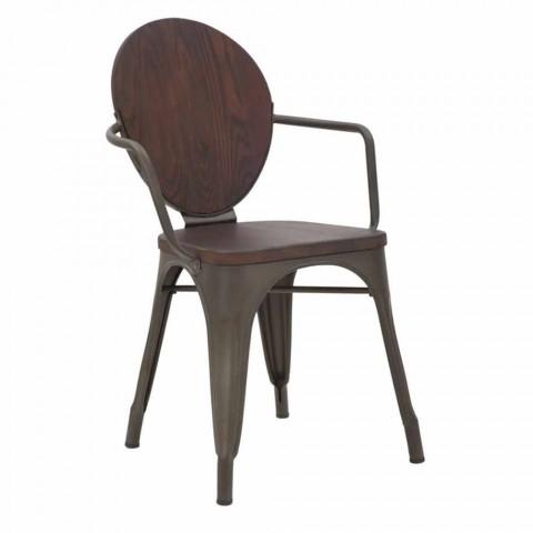 chaise design industriel avec assise en bois et base en fer 2 pieces delia