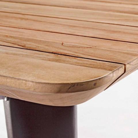table de jardin en bois de teck et base en aluminium homemotion amabel