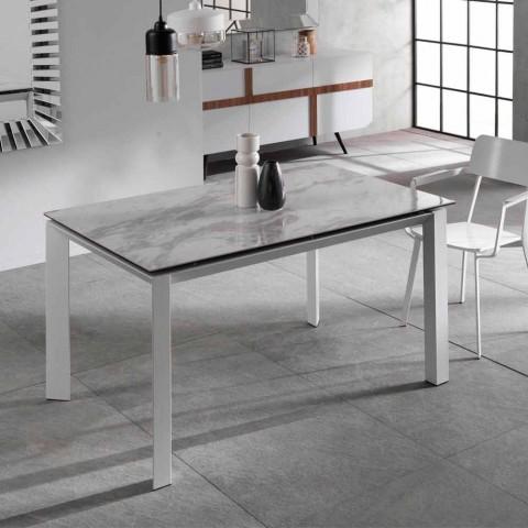 table a manger extensible avec plan en ceramique et marbre effet nosate