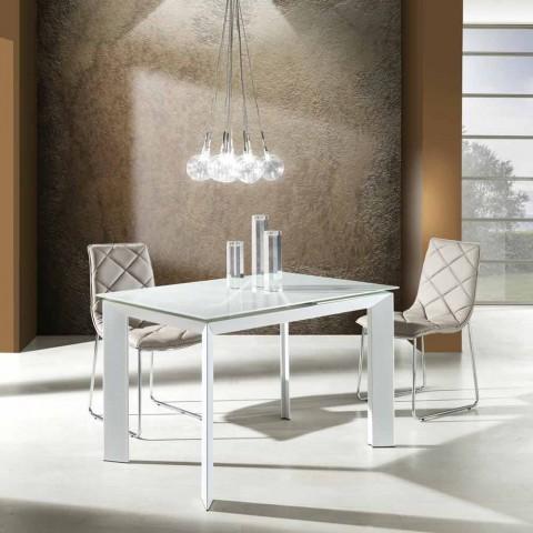 table extensible en verre trempe blanc et metal zeno design moderne
