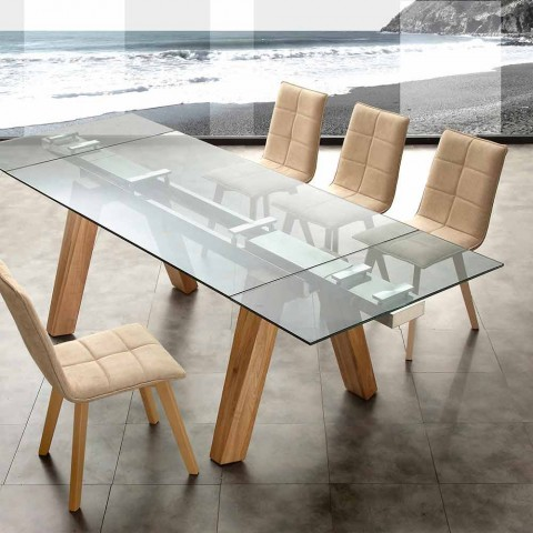 table extensible florida de design en bois massif naturel et verre