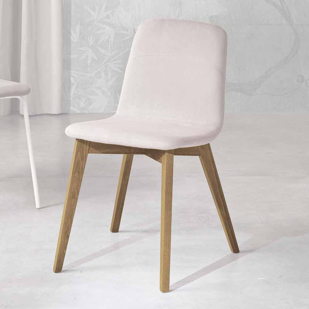Sedie di design in legno per soggiorno con seduta in legno o imbottita, sedie con bracciolo, sedie in legno pieghevoli adatte per l'interno che per. Sedia Moderna In Legno Tinto E Tessuto Fatta In Italia Egizia