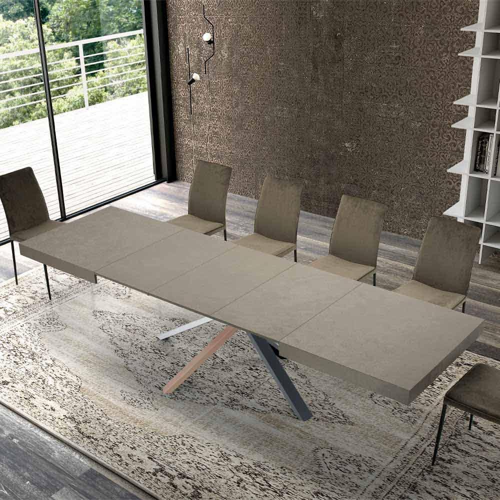 sedie con schienale a onda rivestito in similpelle. Tavolo Da Pranzo Allungabile Design Moderno In Legno E Acciaio