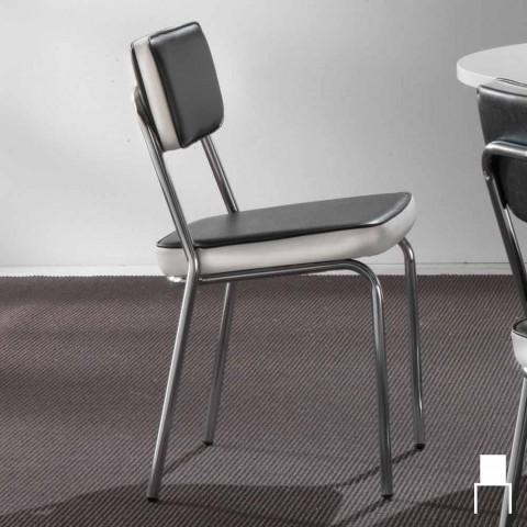 Lo stile di arredamento anni '50 pretende che i mobili e con essi le sedute assumano delle forme semplici e sinuose e sopratutto diventino sempre più. Sedia Stile Anni 50 In Ecopelle Graffiti E Bordino Bianco Unica