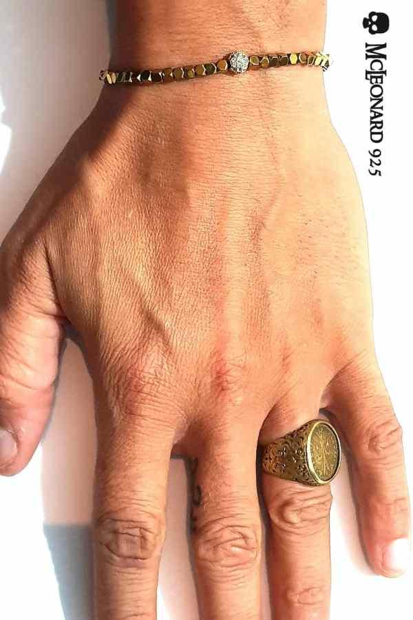 Bracciale Pietra Ematite dorata cubica
