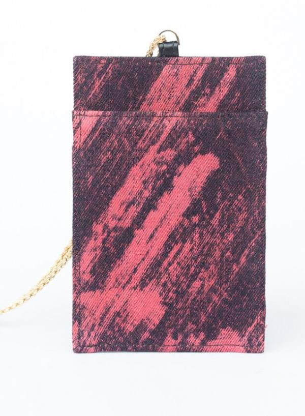 Porta Telefono Marte In Denim Indaco Effetto Flame Con Catena