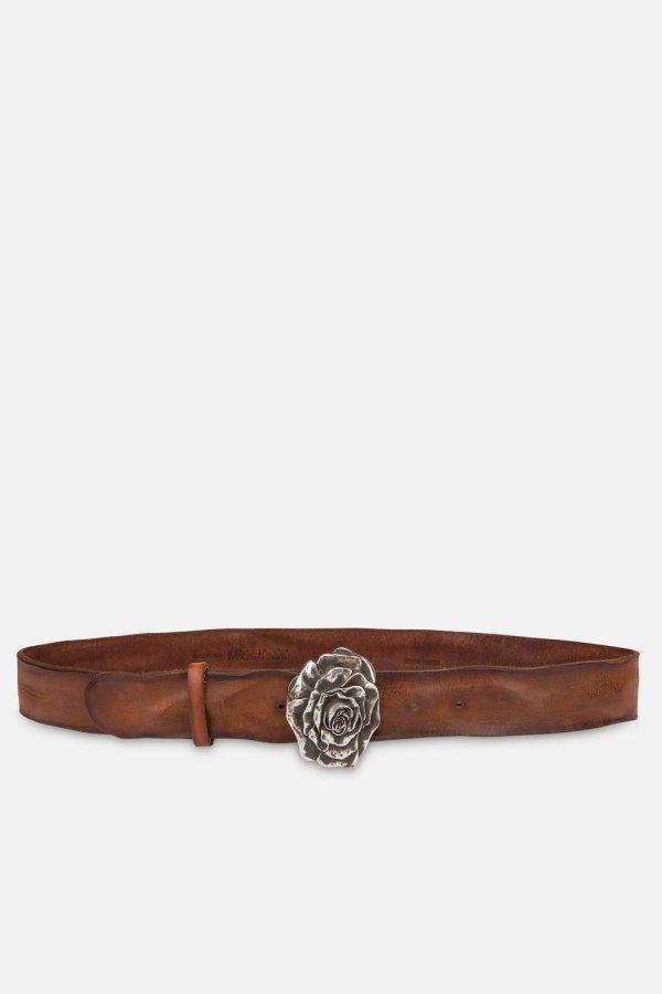 Cintura Rosaria in Cuoio Bruciato